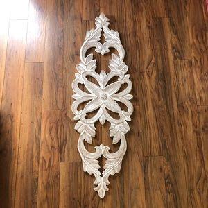 Large Whitewashed Wood Carved Wall Decor Medallion